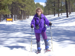Janda snowshoeing in new powder in the Flagstaff, Arizona, area.